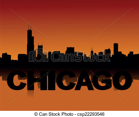 EPS Vector of Chicago skyline at sunset.