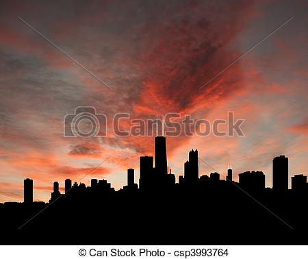 Stock Illustration of Chicago Skyline at sunset reflected in lake.