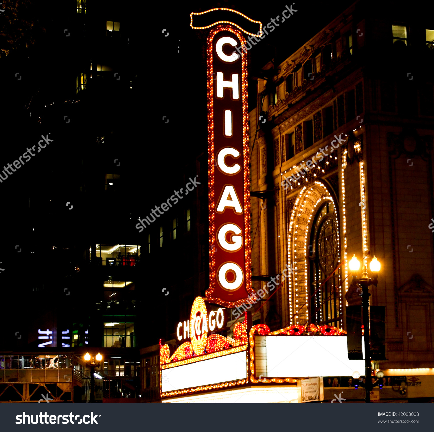 Famous Chicago Theater Sign Stock Photo 42008008.