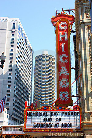 Chicago Theatre Sign Royalty Free Stock Images.