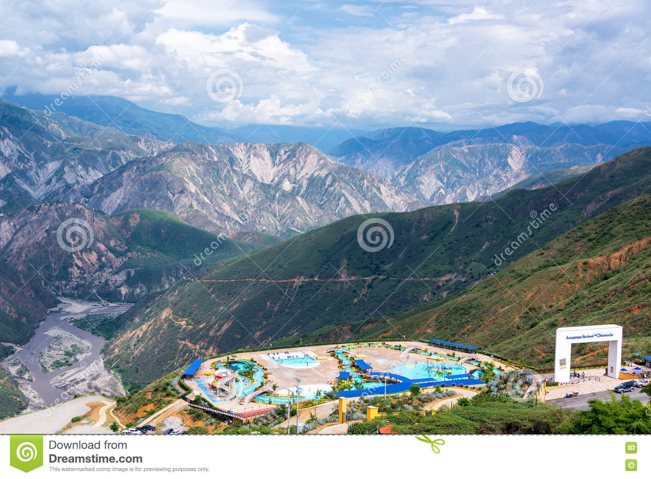 Water Park And Chicamocha Canyon Editorial Photo.