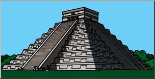 Clip Art: El Castillo de Chichen Itza Color I abcteach.com.