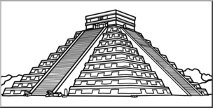 Clip Art: El Castillo de Chichen Itza B&W I abcteach.com.