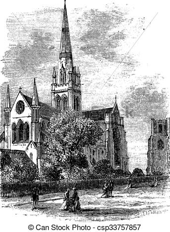 Clipart Vector of Chichester Cathedral vintage engraving in the.