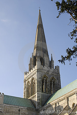 Spire Of Chichester Cathedral. England Stock Photo.