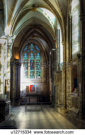 Stock Photo of England, West Sussex, Chichester. The south aisle.