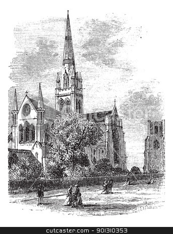 Chichester Cathedral vintage engraving in the 1890s stock vector.