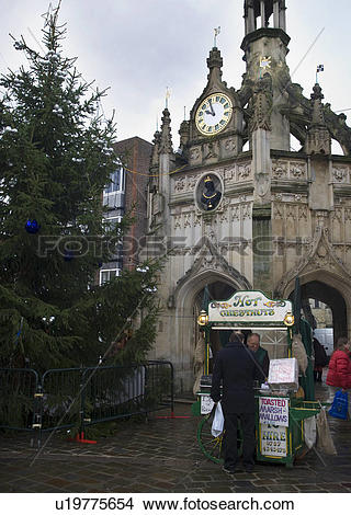 Stock Photo of Hot Chestnuts for sale at the Market Cross.