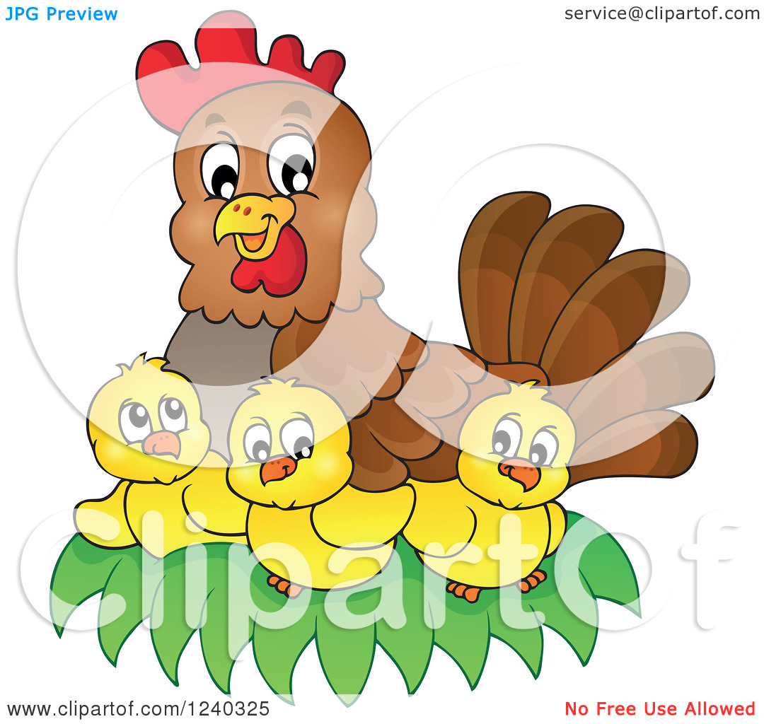 Clipart of a Happy Mother Hen and Chicks.