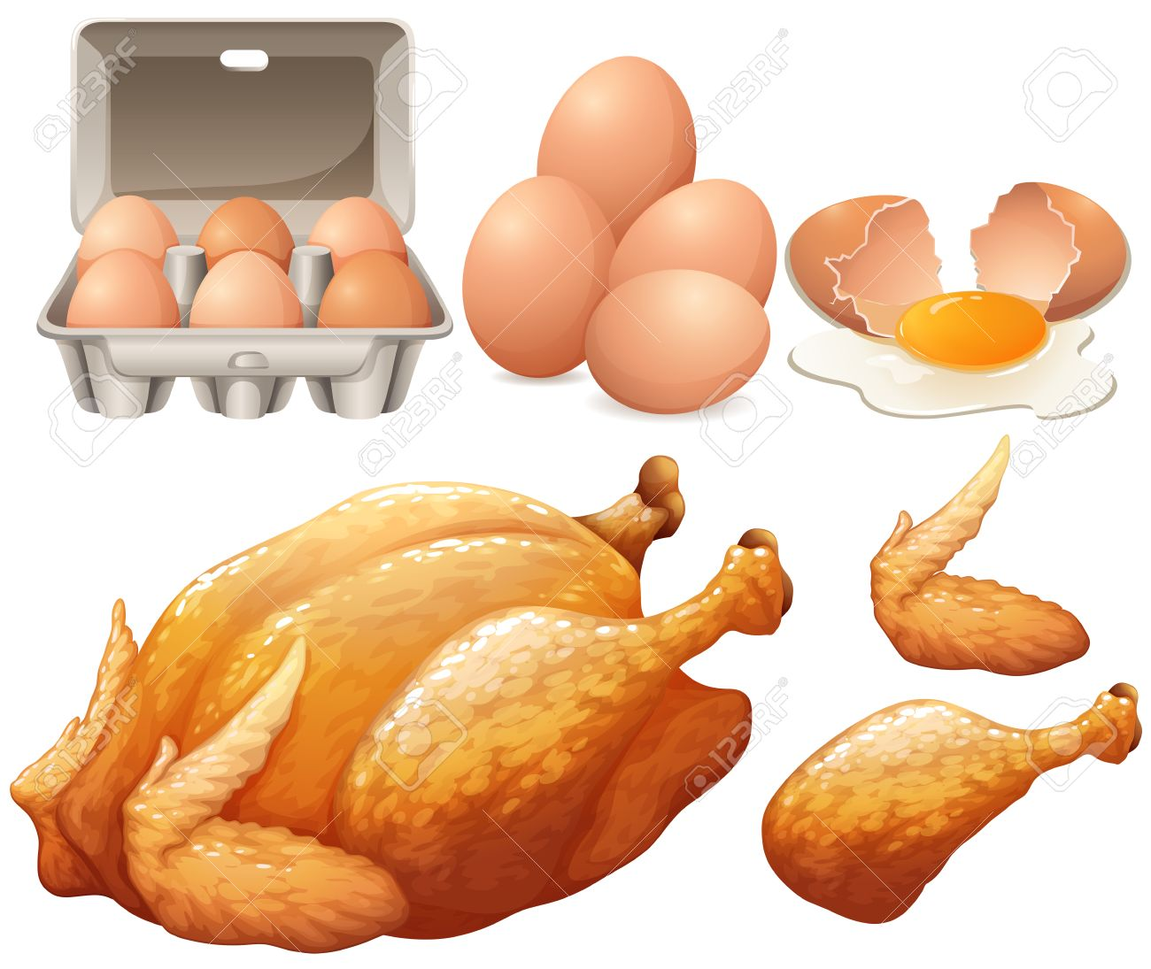 Fried chicken and fresh eggs illustration.