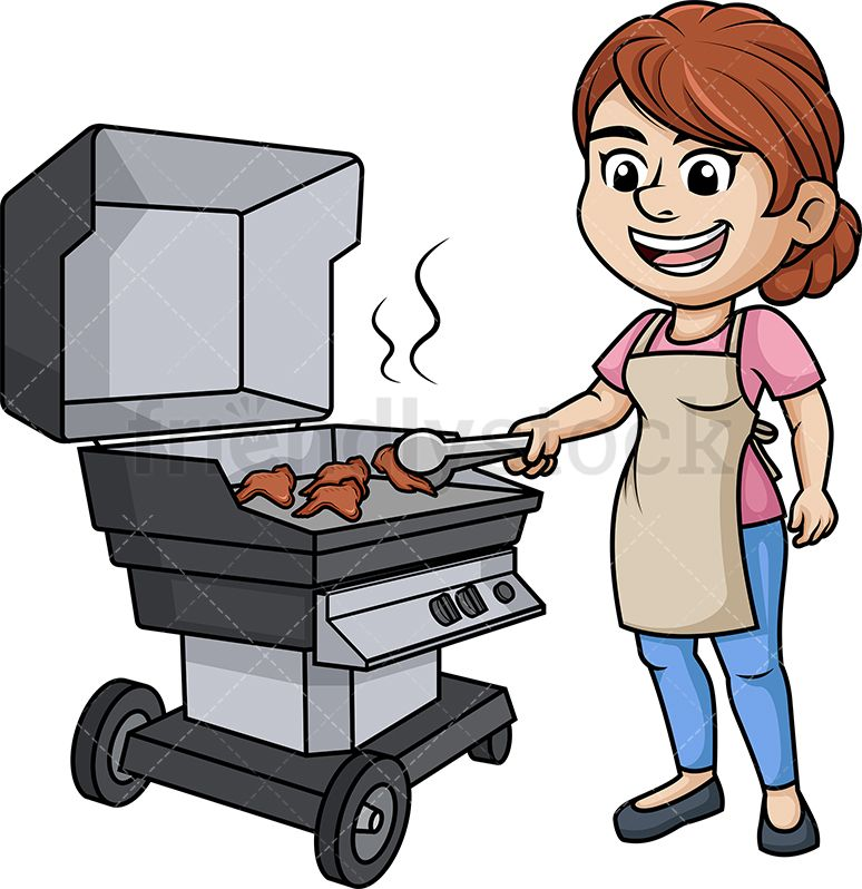 Woman Grilling Chicken Wings.
