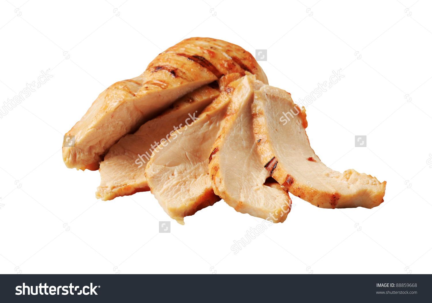 Slices Grilled Chicken Breast Stock Photo 88859668.