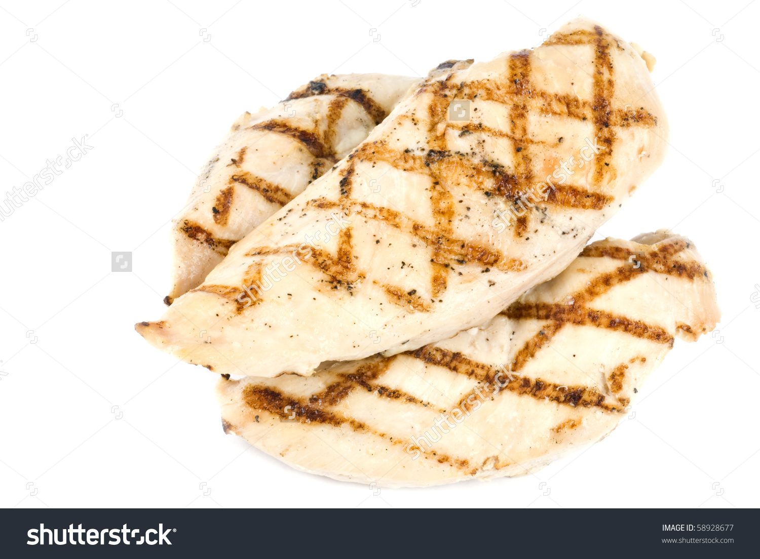 Grilled Chicken Breasts Isolated On White Stock Photo 58928677.