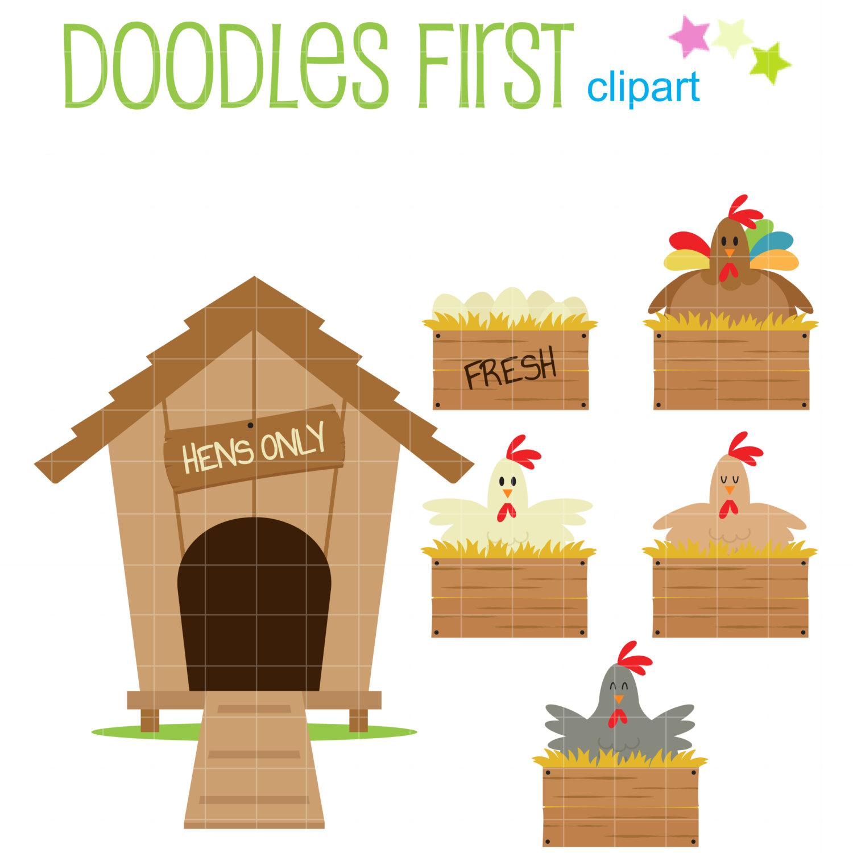 Chicken Coop Set Digital Clip Art for Scrapbooking by DoodlesFirst.