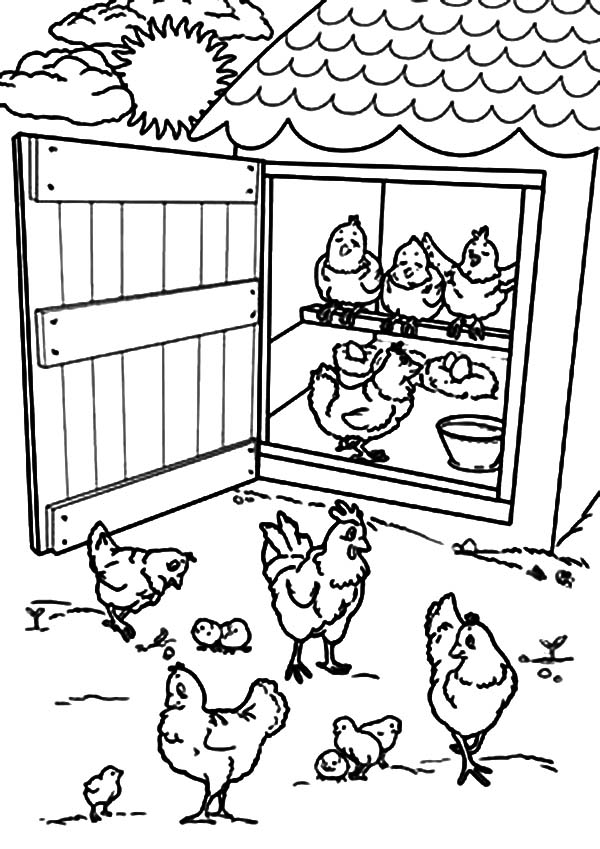 Chicken coop clipart black and white.