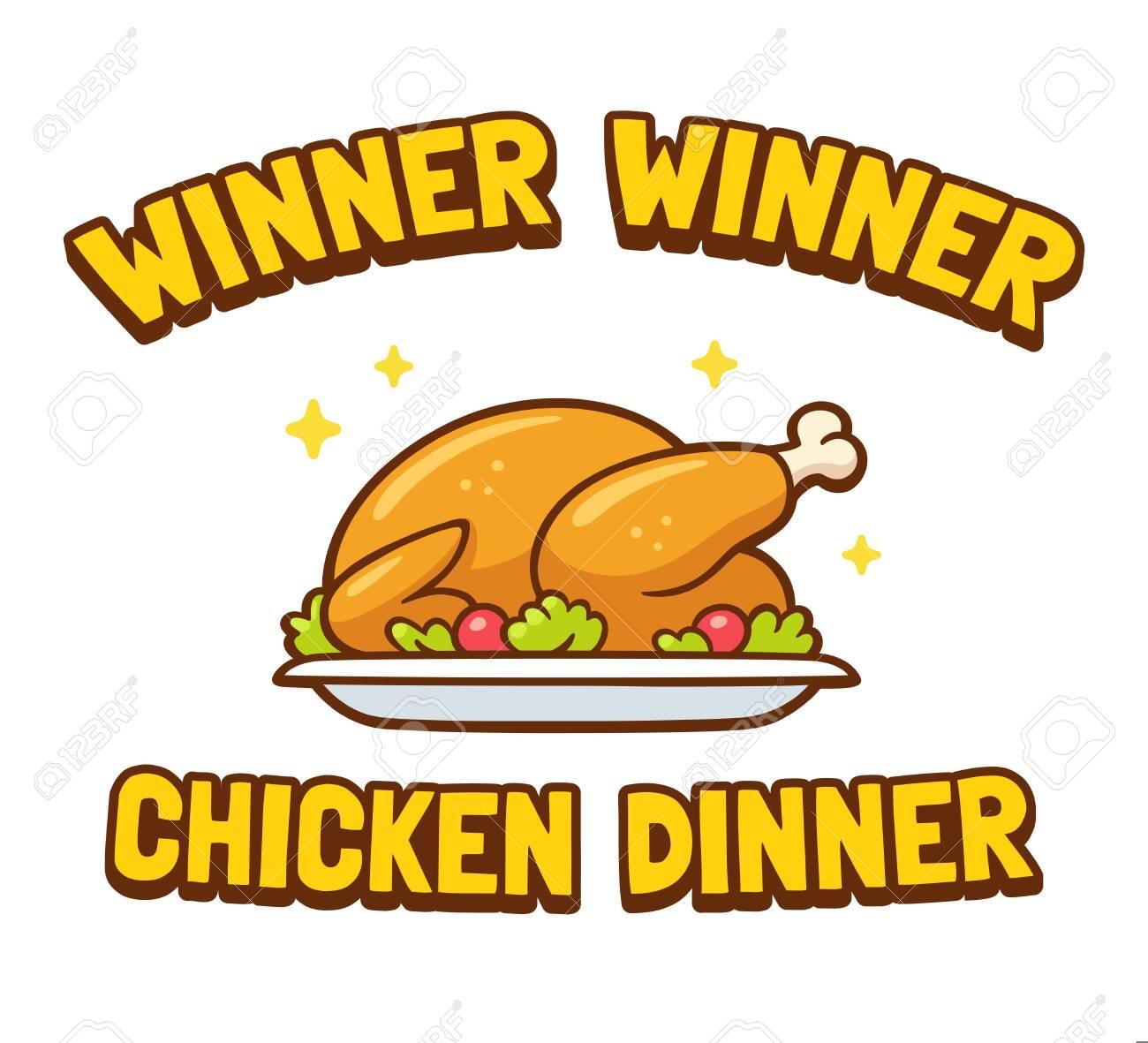Winner Winner Chicken Dinner, funny saying vector clip art illustration.