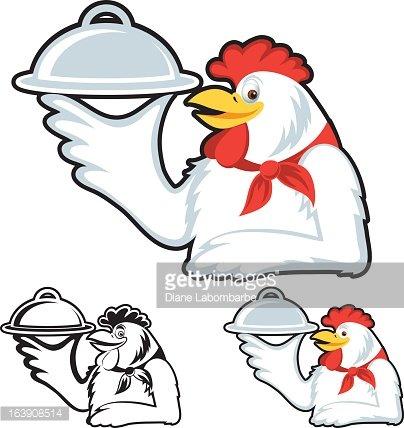 Mascot Style Chicken Dinner premium clipart.