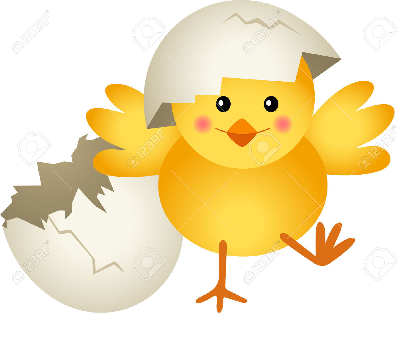 Chicken Leaving Cracked Egg Funny Clipart Image.