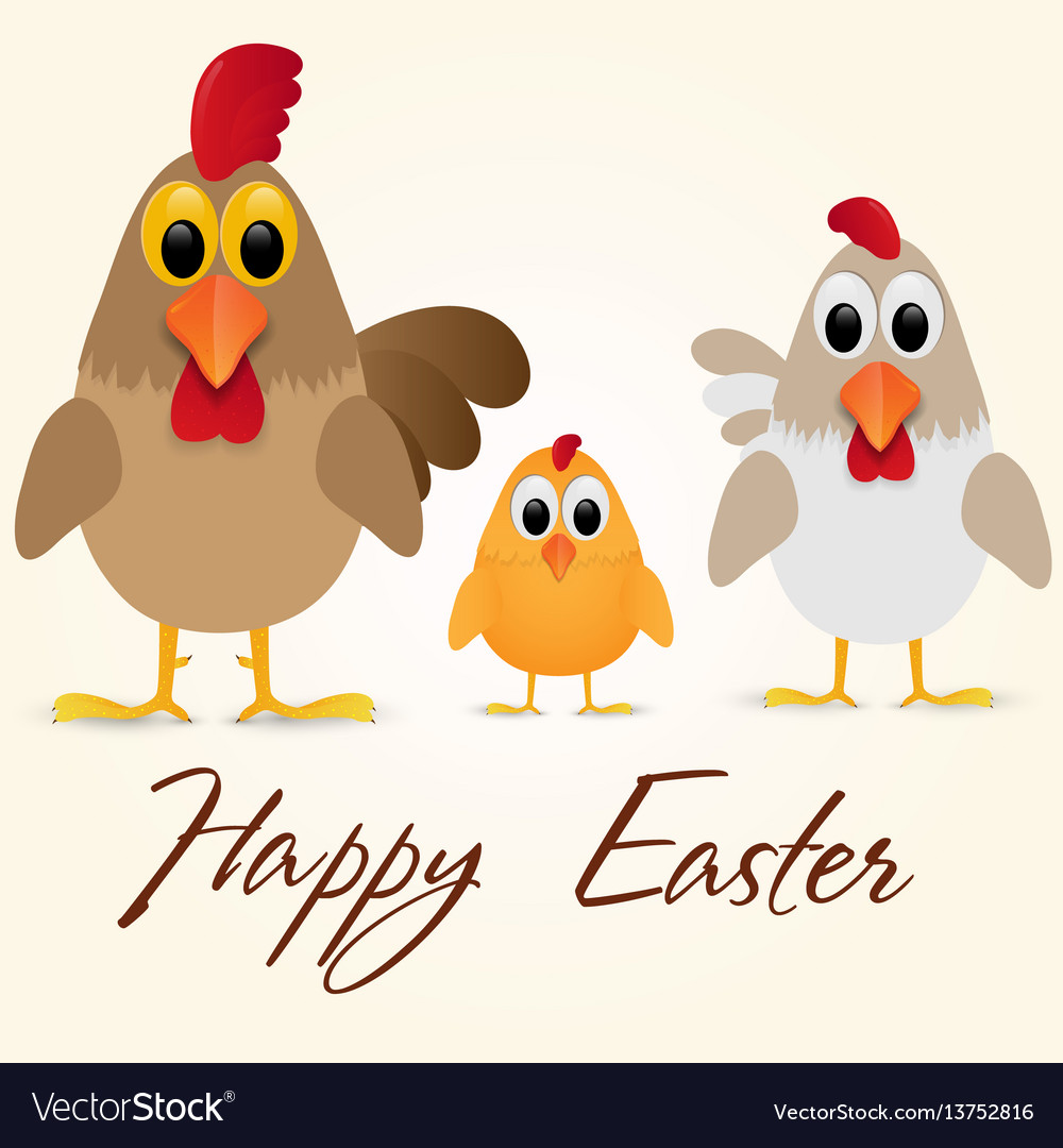 Happy easter greeting card with chicken family.