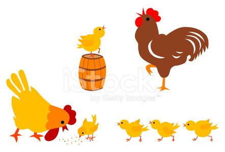 Chicken Family Clipart Image.