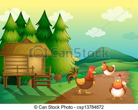 Clip Art Vector of Farm theme with hen and chickens.