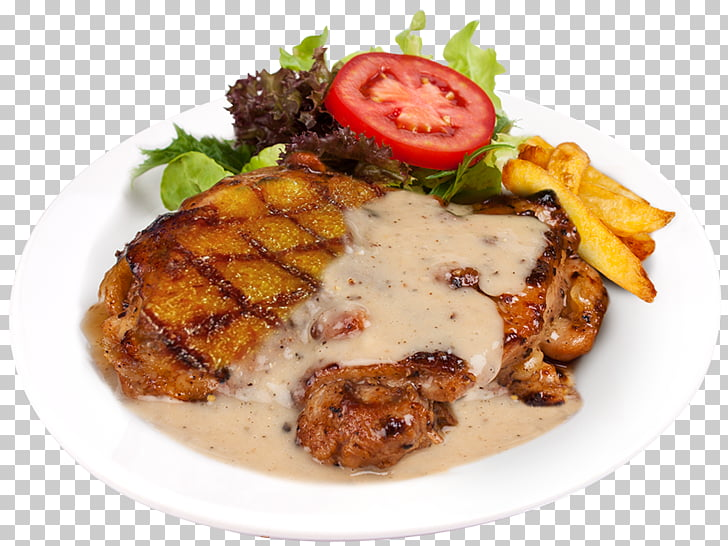 Chicken fried steak Chicken as food Gravy Pepper steak.