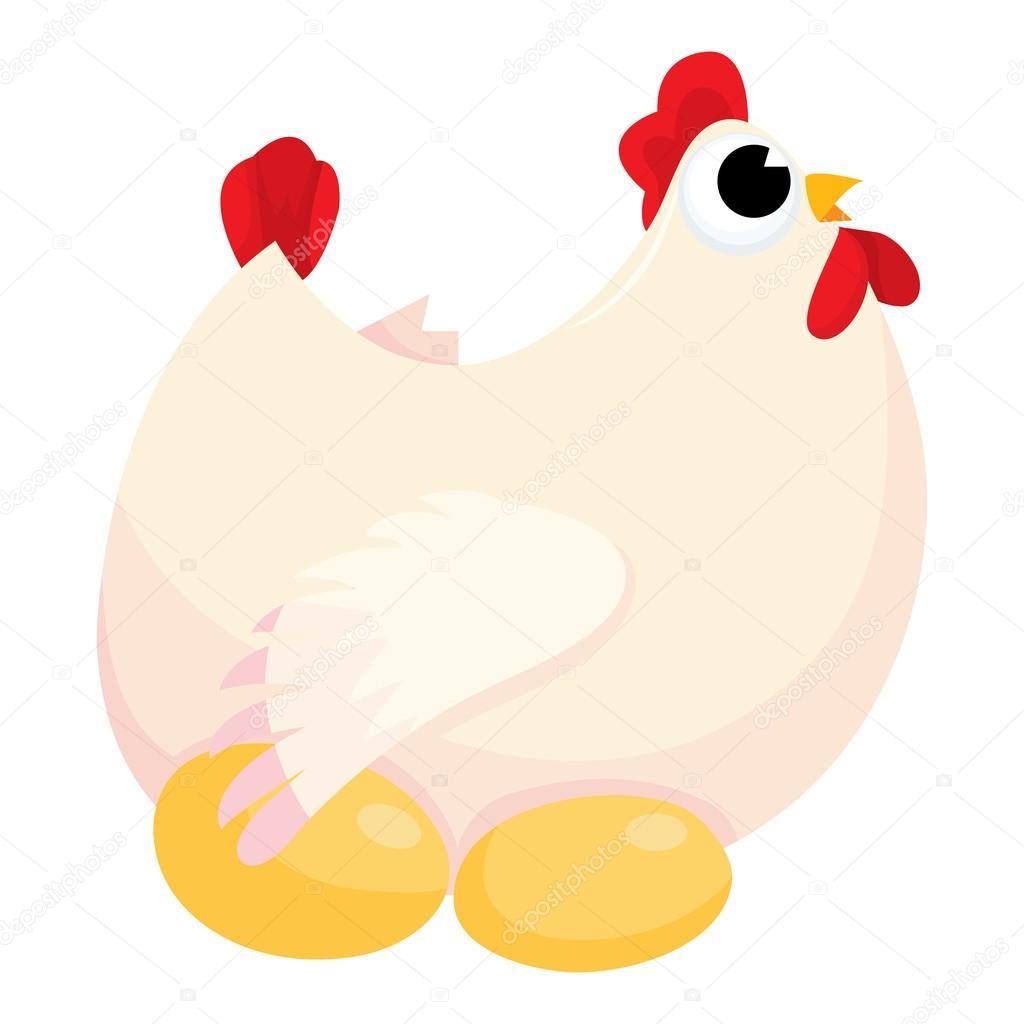 Clipart: cartoon chicken laying eggs.