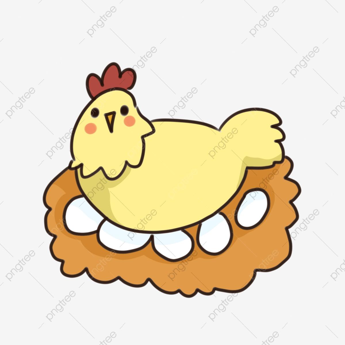 Hand Drawn Cartoon Laying Hen Yellow Laying Eggs Hen, Cute Cartoon.