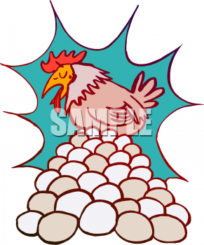 Tired Chicken Laying Eggs Clipart Picture.