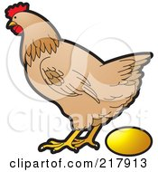 Chicken Laying Egg Clipart.