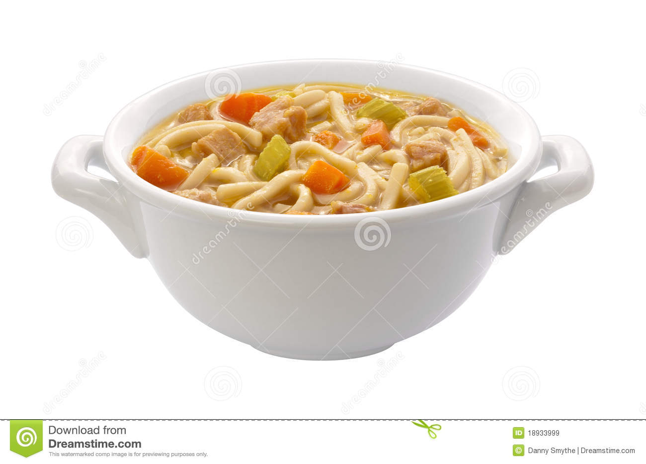 Chicken Noodle Soup (clipping Path) Stock Image.