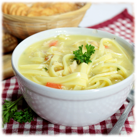 Creamy Chicken Noodle Soup — Mrs. Miller's Homemade Noodles.