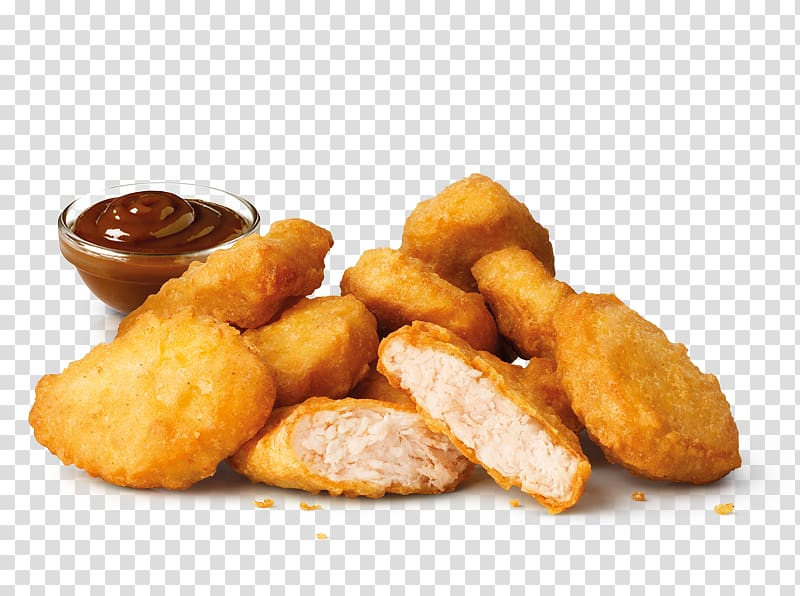 Fritters with brown dipping sauce illustration, McDonald\'s Chicken.
