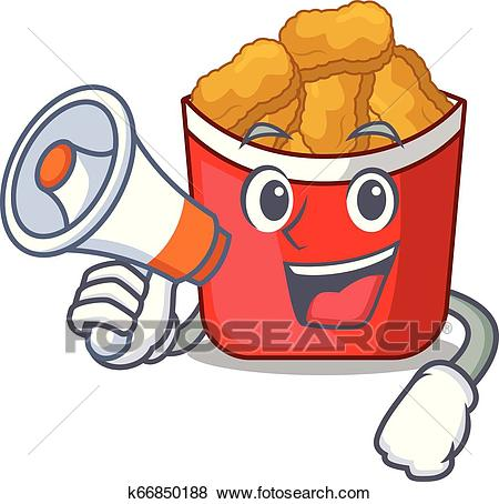 With megaphone chicken nuggets isolated with the character Clip Art.