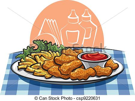 Chicken nuggets Vector Clipart Royalty Free. 201 Chicken nuggets.