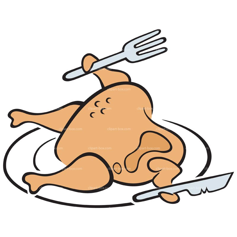 CLIPART CHICKEN IN PLATE.