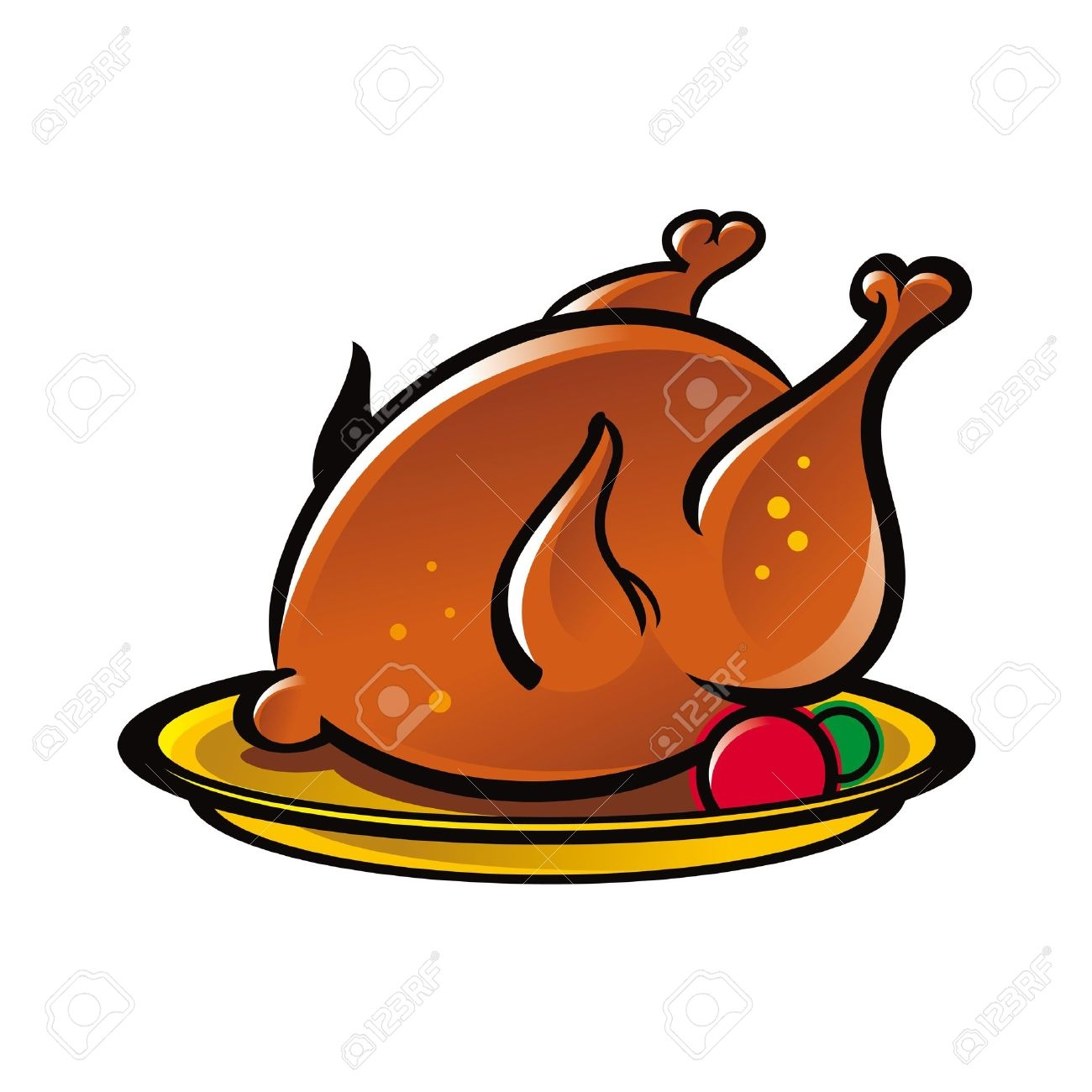 Chicken On A Plate Clipart.