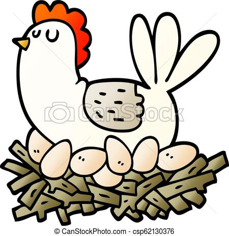 vector gradient illustration cartoon chicken on nest of eggs.