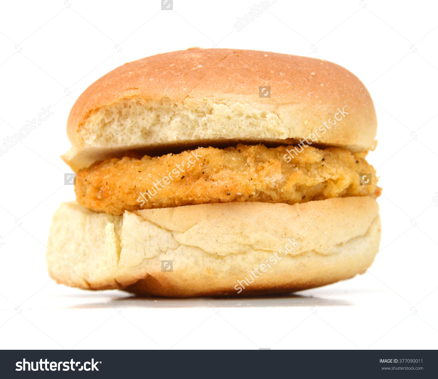 Bun Chicken Patty Ingredient Hamburger Isolated Stock Photo.