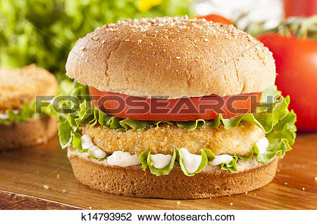 Stock Photo of Breaded Chicken Patty Sandwich on a Bun k14793952.