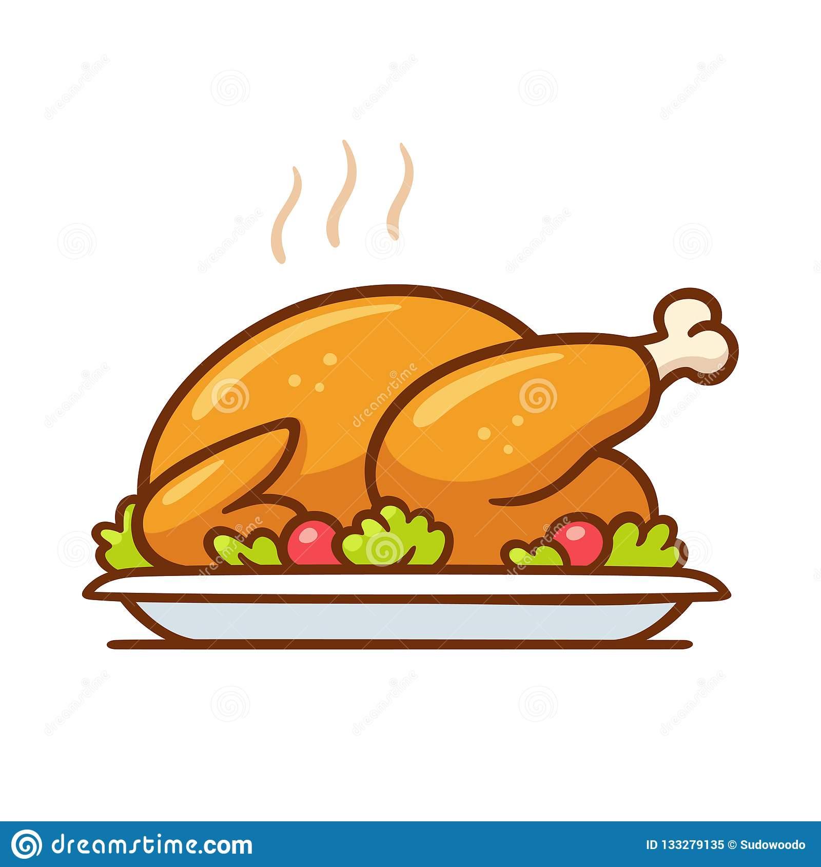 Roast Turkey Or Chicken Dinner Stock Vector.