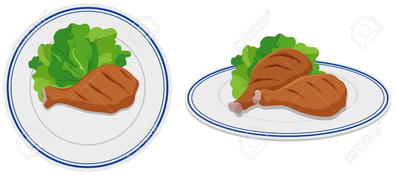 Chicken drumsticks on two plates illustration.