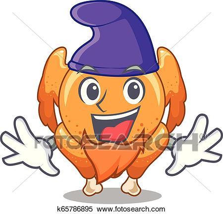Elf roast chicken on a mascot plate Clipart.