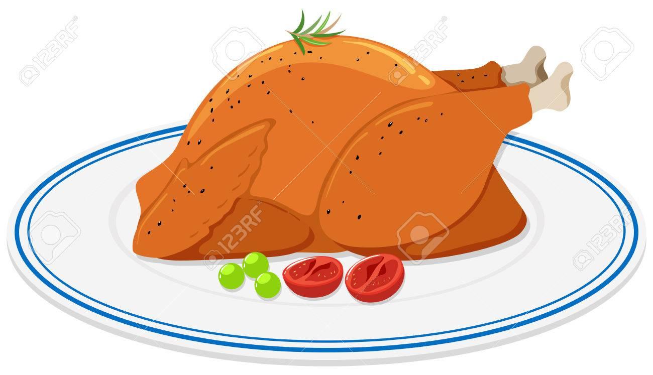Roast chicken on round plate illustration.