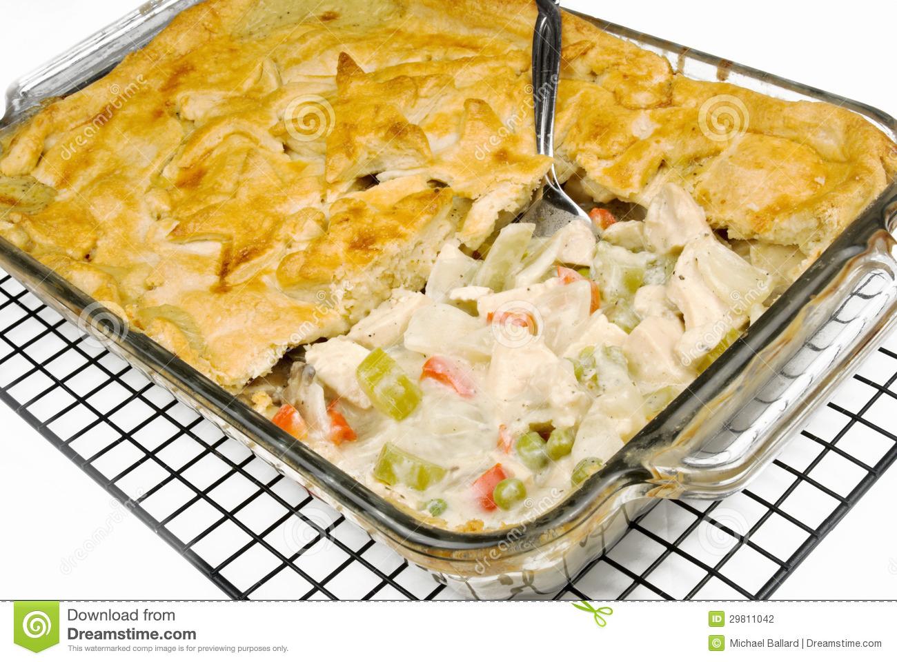 Chicken pot pie stock photo. Image of celery, food, mushrooms.
