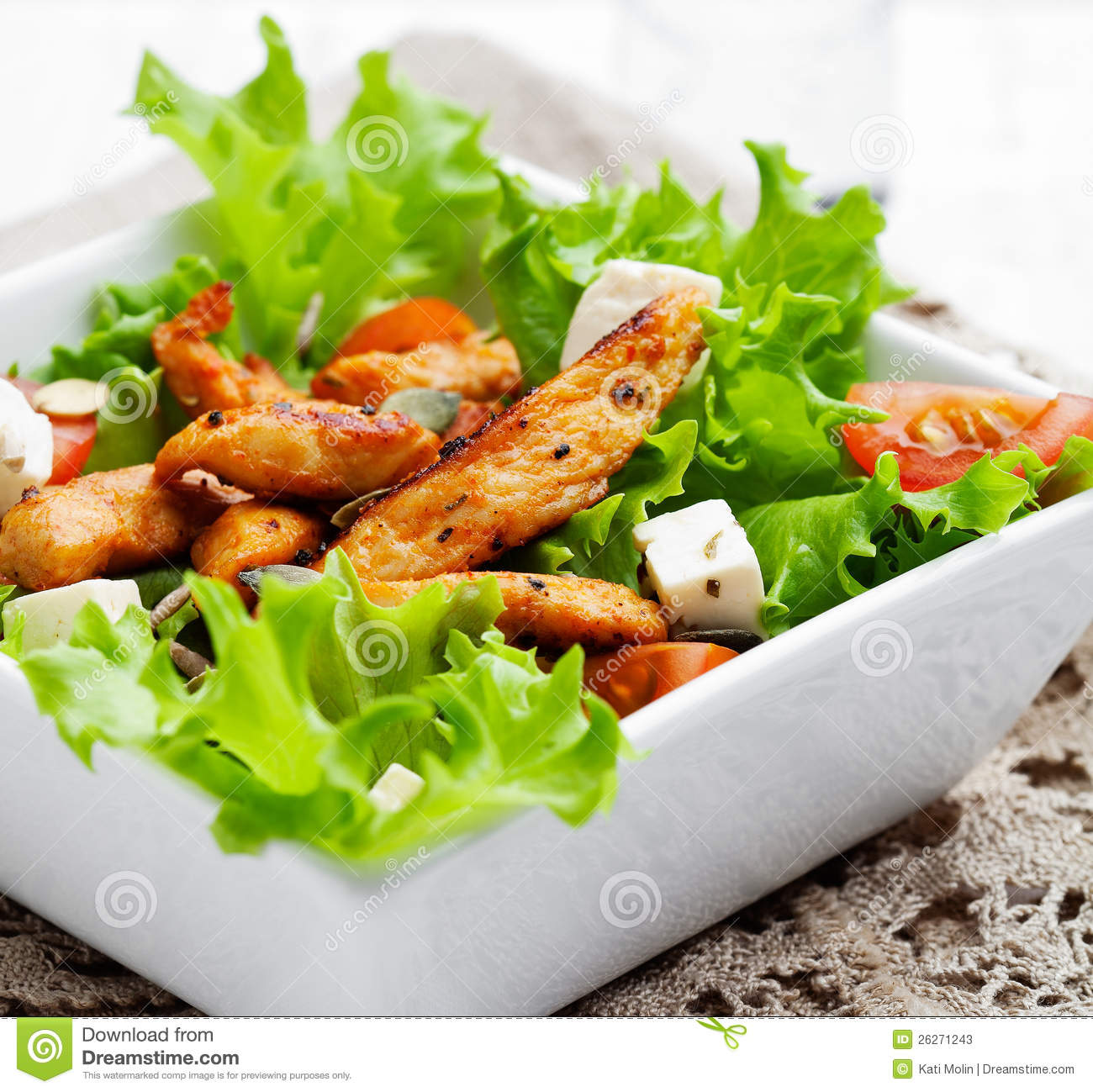 Chicken salad stock image. Image of green, nutrition.