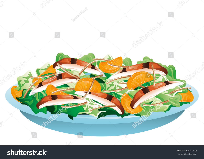 Oriental Chicken Salad Stock Vector (Royalty Free) 576300058.