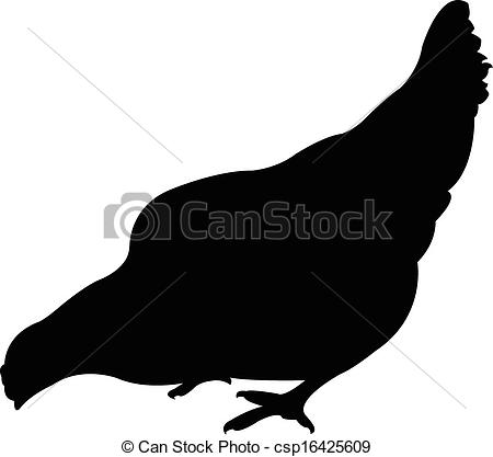 Vector Clipart of a chicken silhouette vector.
