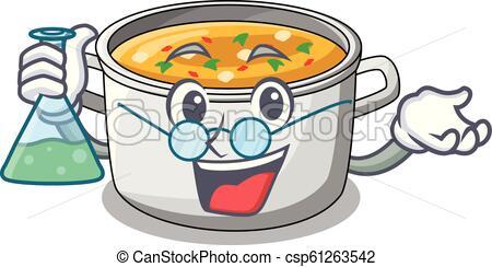 Professor cartoon chicken soup pot for dinner vector illustration..