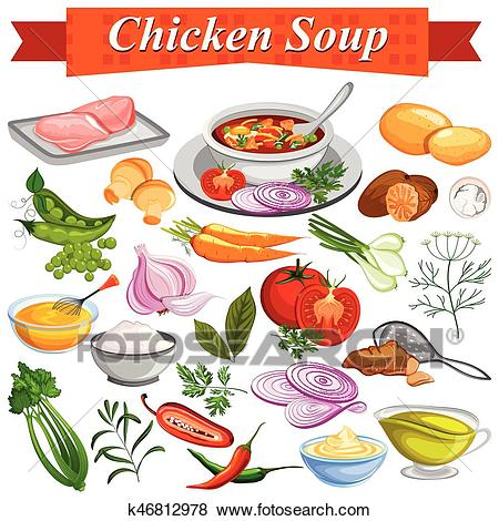 Ingredient for Indian Chicken Soup recipe with vegetable and spices Clip Art.